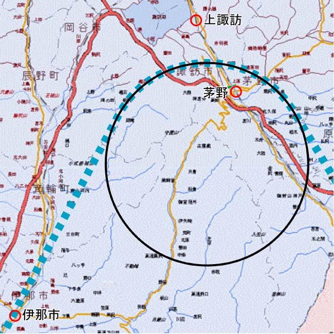 参考地図、円は半径8km、青破線が適当な想定ルート、とりあえず茅野と上諏... リニア中央新幹線